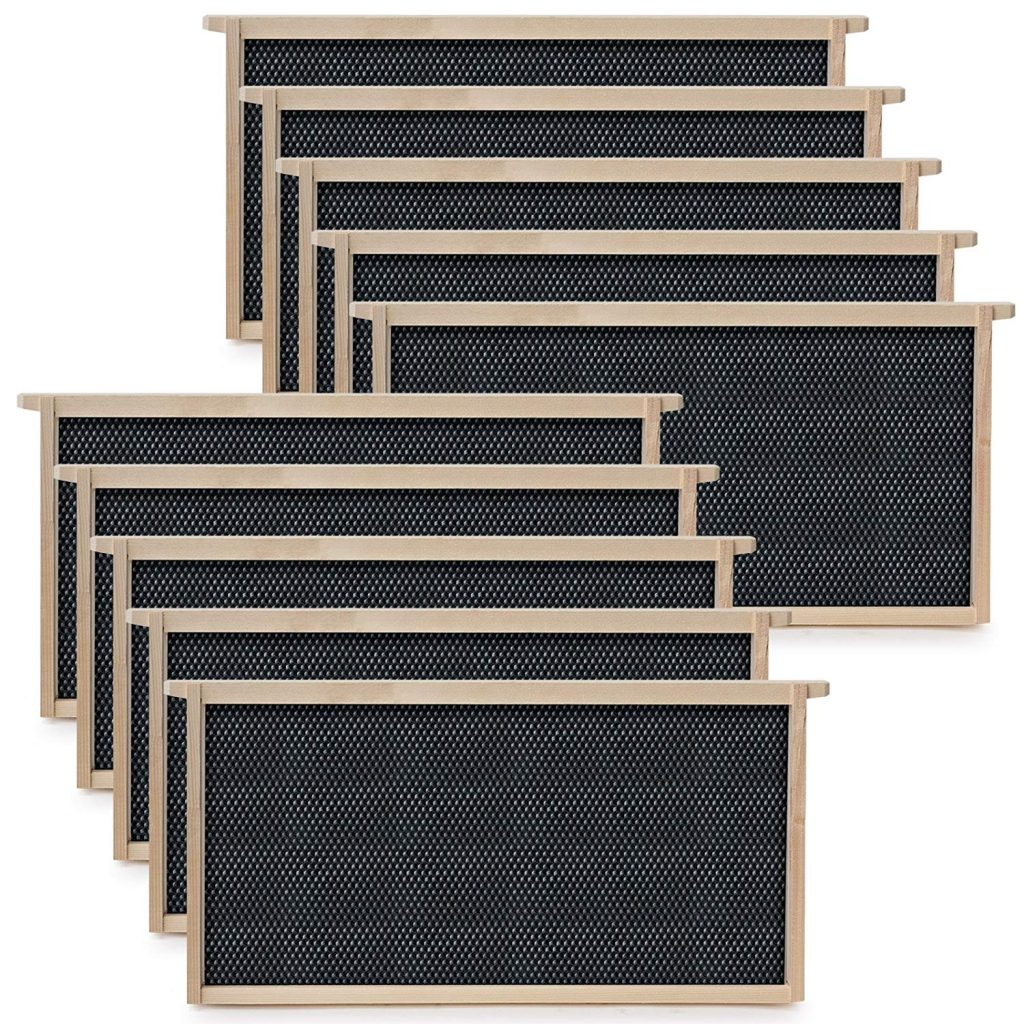 9-1//8 20 Pack Mann Lake Assembled Commercial Frames with Waxed Black Rite-Cell Foundation